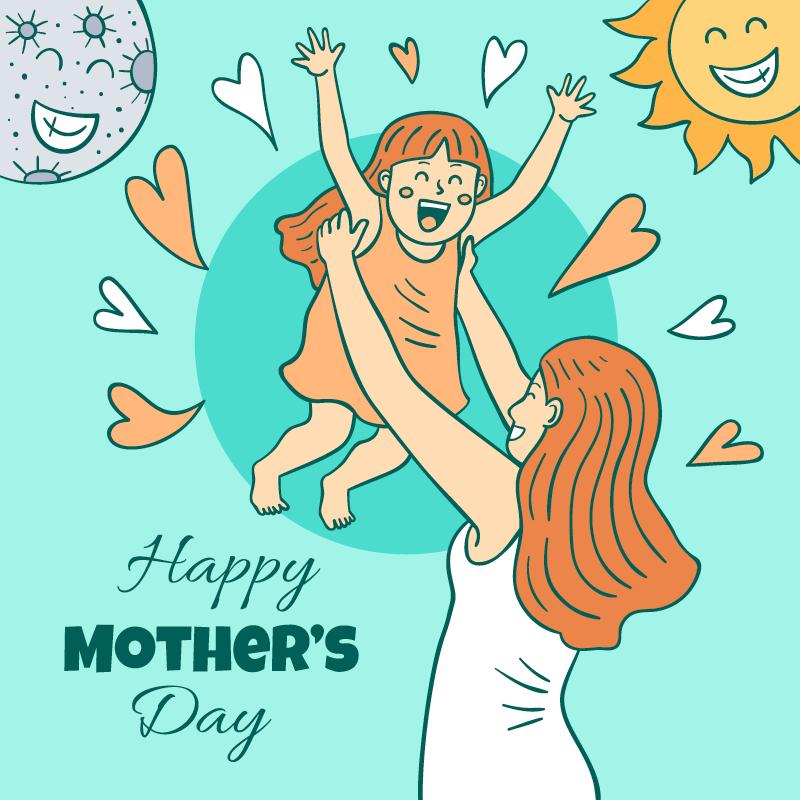 妈妈双手举起女儿设计母亲节矢量素材(AI/EPS)