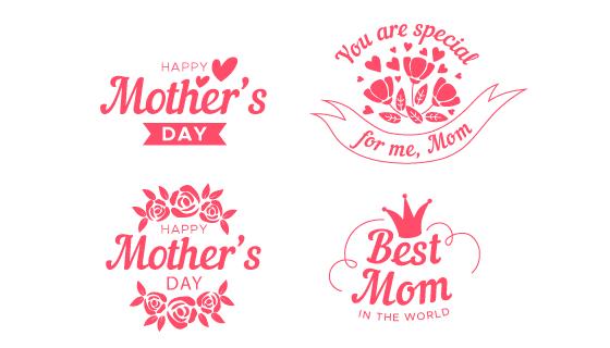 爱心花朵设计母亲节标签矢量素材(AI/EPS/PNG)