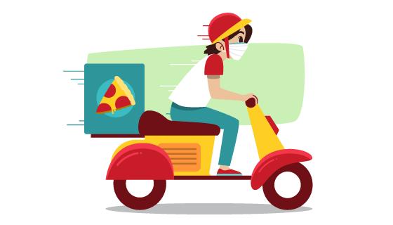 带着口罩送披萨的快递员矢量素材(AI/EPS/PNG)