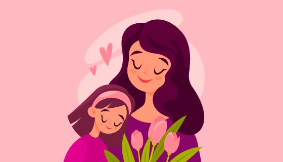 妈妈和女儿相依在一起母亲节矢量素材(AI/EPS)