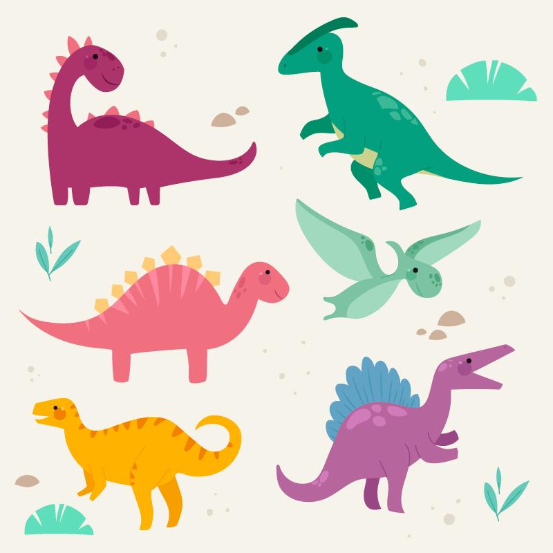 多彩卡通风格的恐龙矢量素材(AI/EPS/免扣PNG)