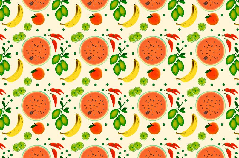 水果蔬菜图案背景矢量素材(AI/EPS)