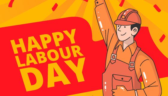 手举锤子的工人劳动节矢量素材(AI/EPS)