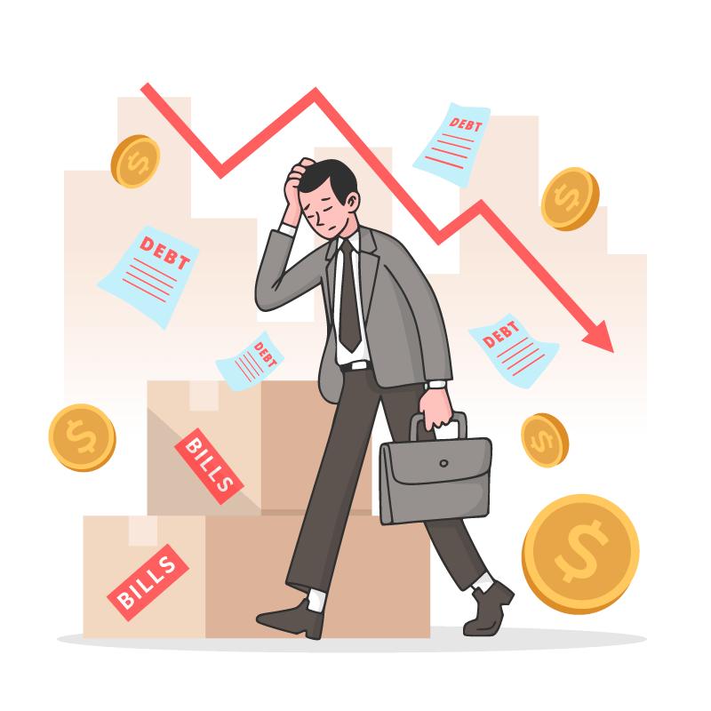 因股市暴跌而破产的人矢量素材(AI/EPS/免扣PNG)