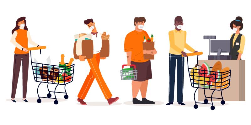 带着口罩在超市购物的人们矢量素材(AI/EPS/免扣PNG)