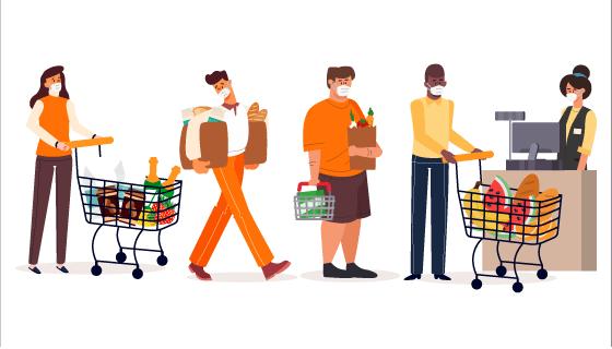 带着口罩在超市购物的人们矢量素材(AI/EPS/PNG)