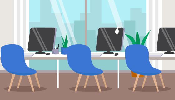 空旷的办公室矢量素材(AI/EPS)
