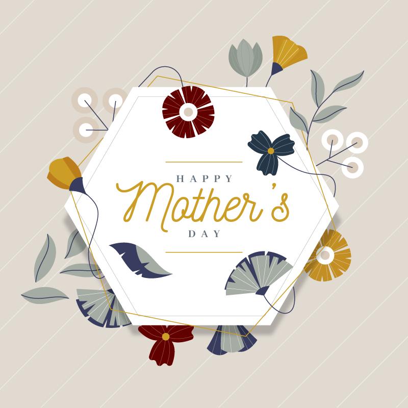 扁平风格花卉设计母亲节快乐矢量素材(AI/EPS)