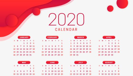 红色简单设计的2020年日历矢量素材(AI/EPS)