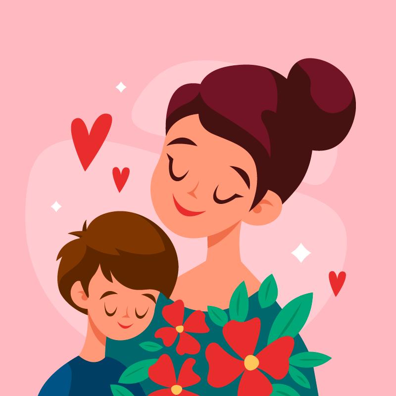 妈妈和孩子相依在一起母亲节矢量素材(AI/EPS)