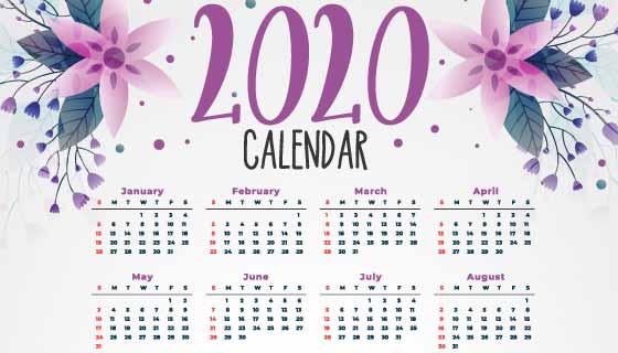 漂亮花卉设计2020年日历矢量素材(EPS)