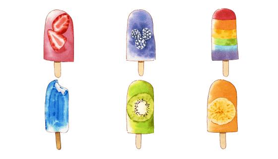 美味水彩风格冰淇淋矢量素材(EPS)