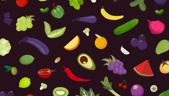 水果蔬菜背景矢量素材(AI/EPS/PNG)