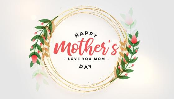 漂亮花环设计母亲节快乐卡片矢量素材(EPS)