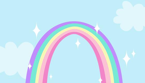 手绘风格的可爱彩虹矢量素材(AI/EPS)