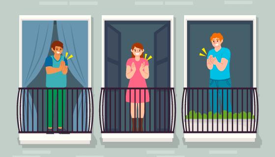 在阳台上拍手的人矢量素材(AI/EPS)