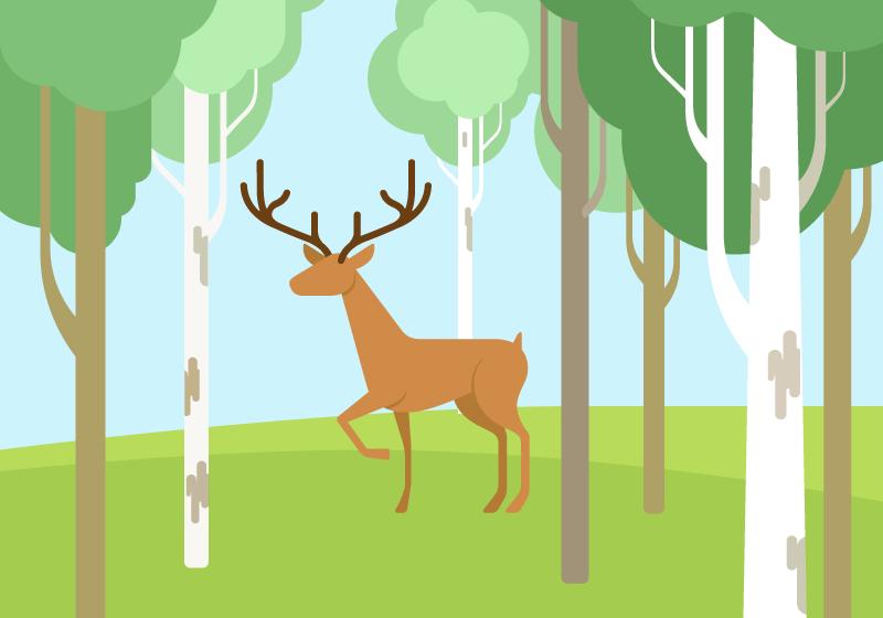 扁平风格树林里的小鹿矢量素材(EPS)