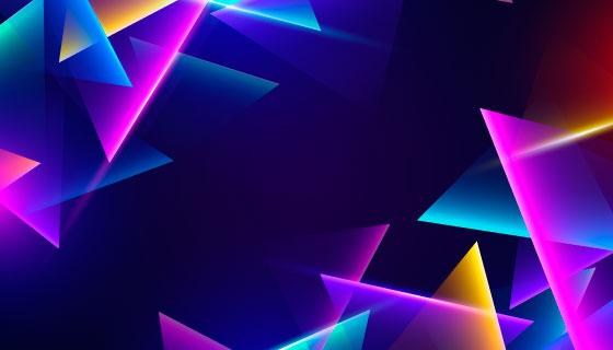 多彩三角形霓虹灯背景矢量素材(AI/EPS)