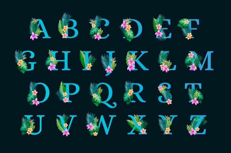 花卉点缀设计的字母矢量素材(AI/EPS/免扣PNG)
