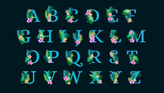 花卉点缀设计的字母矢量素材(AI/EPS/PNG)