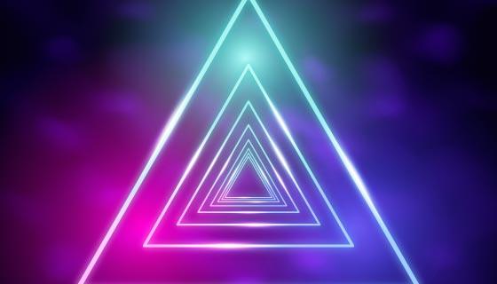 闪亮的三角形霓虹灯背景矢量素材(AI/EPS)