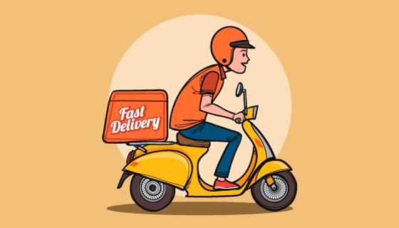 骑着车子送快递的快递员矢量素材(AI/EPS)