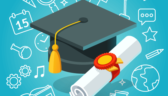 博士帽和学位证书矢量素材(EPS)