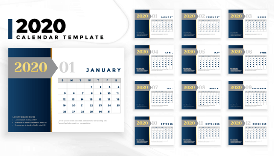简单商务风格2020年日历矢量素材(EPS)