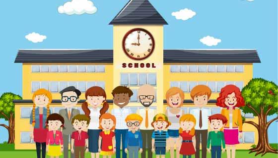 学生和老师在学校前照相矢量素材(EPS)