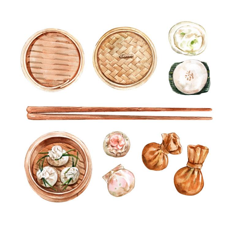 水彩风格的包子和饺子矢量素材(EPS)