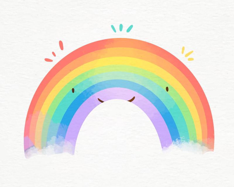 水彩风格的彩虹矢量素材(AI/EPS)