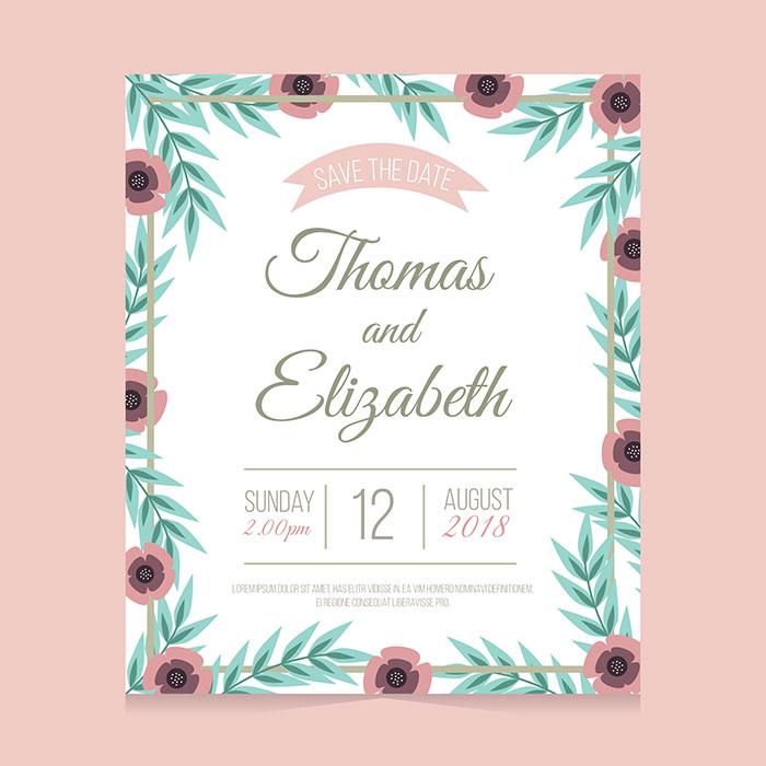 扁平花卉婚礼卡片矢量素材(EPS/AI)