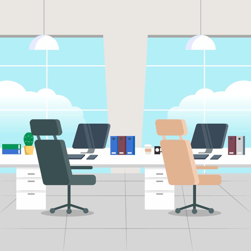 扁平设计空旷的办公室矢量素材(AI/EPS)