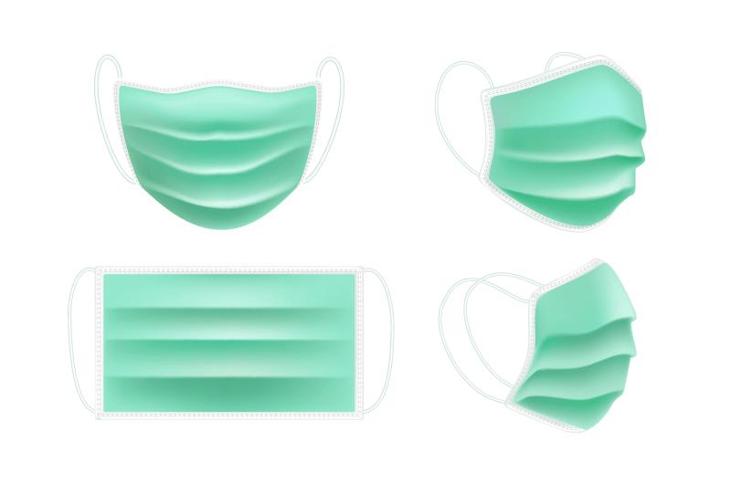 逼真的一次性医用口罩矢量素材(AI/EPS/免扣PNG)
