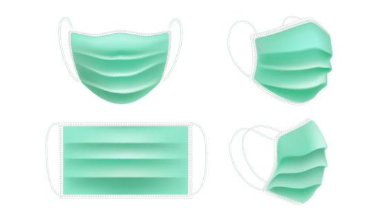 逼真的一次性医用口罩矢量素材(AI/EPS/PNG)
