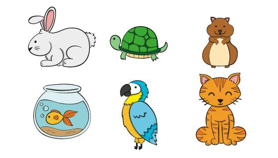六种不同的动物矢量素材(AI/EPS/PNG)