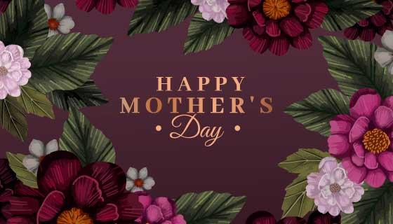 漂亮花卉设计母亲节快乐背景矢量素材(AI/EPS)