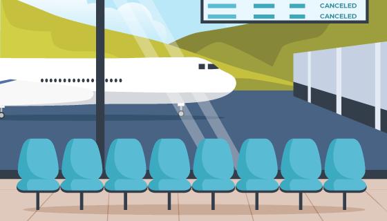 空旷的机场和候机室矢量素材(AI/EPS)
