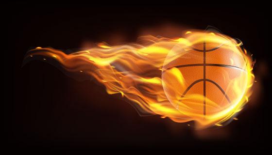 逼真的火焰篮球矢量素材(EPS)