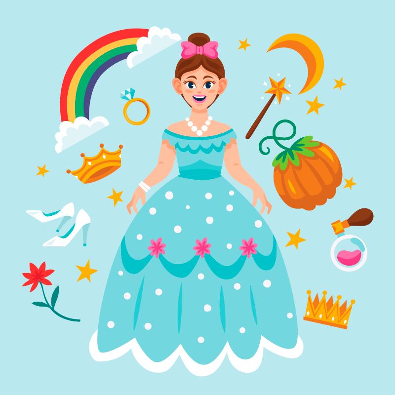 童话公主和各种装饰品矢量素材(AI/EPS/免扣PNG)