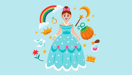 童话公主和各种装饰品矢量素材(AI/EPS/PNG)