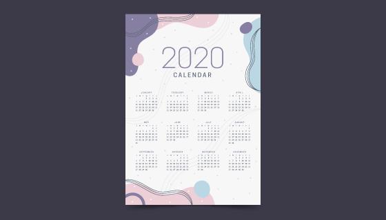 柔和颜色设计的2020年日历矢量素材(AI/EPS)