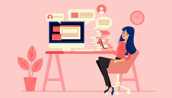办公室里休闲的女子矢量素材(AI/EPS)