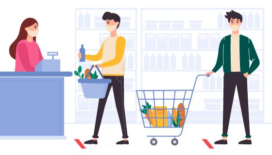 带着口罩在超市购物的人矢量素材(AI/EPS)