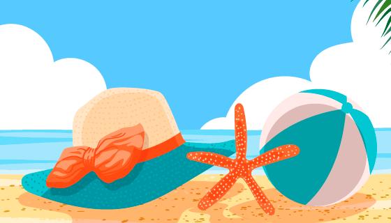 夏天海滩大海视角矢量素材(AI/EPS)