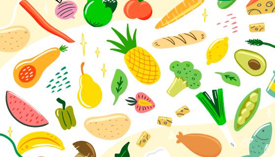 丰富多彩的有机水果蔬菜矢量素材(AI/EPS/PNG)