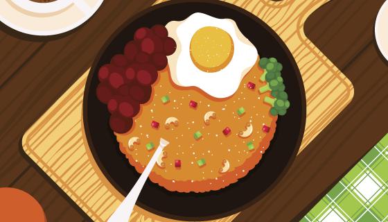 俯视美味的食物矢量素材(AI/EPS)