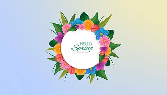 手绘春天花卉矢量素材(EPS/AI)