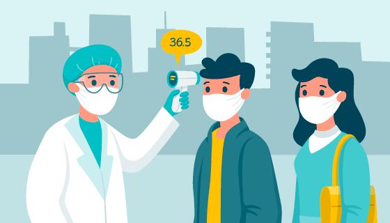 医生给人们测量体温矢量素材(AI/EPS)
