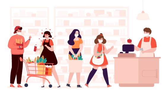 超市里购物和一位感染冠状病毒的人矢量素材(AI/EPS)